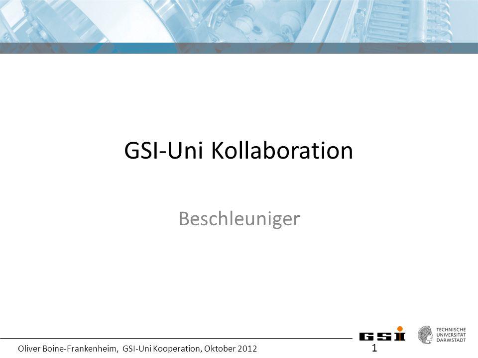 Oliver Boine-Frankenheim, GSI-Uni Kooperation, Oktober 2012 Abschließende Bemerkungen zur bisherigen Kooperation 2 Die Zusammenarbeit auf dem Gebiet Beschleunigerphysik und Technik mit den Universitäten ist insgesamt für die Partner (GSI und Unis) sehr erfolgreich verlaufen .