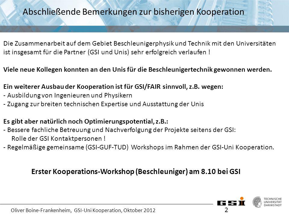Oliver Boine-Frankenheim, GSI-Uni Kooperation, Oktober 2012 Ziele des Workshops 3 Für jedes Einzelprojekt sind folgende Informationen erforderlich: 1.Projekttitel 2.Verantwortlicher Prof.