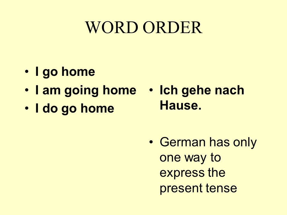 WORD ORDER The cardinal rule of word order in German is to put the verb in second position.