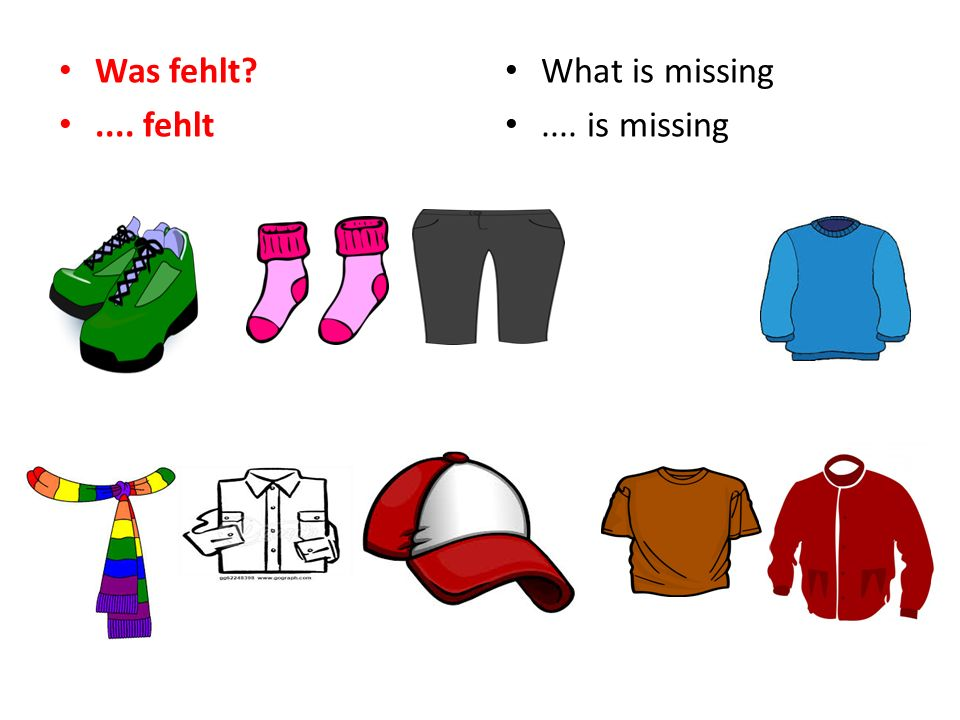 Was fehlt?.... fehlt What is missing.... is missing