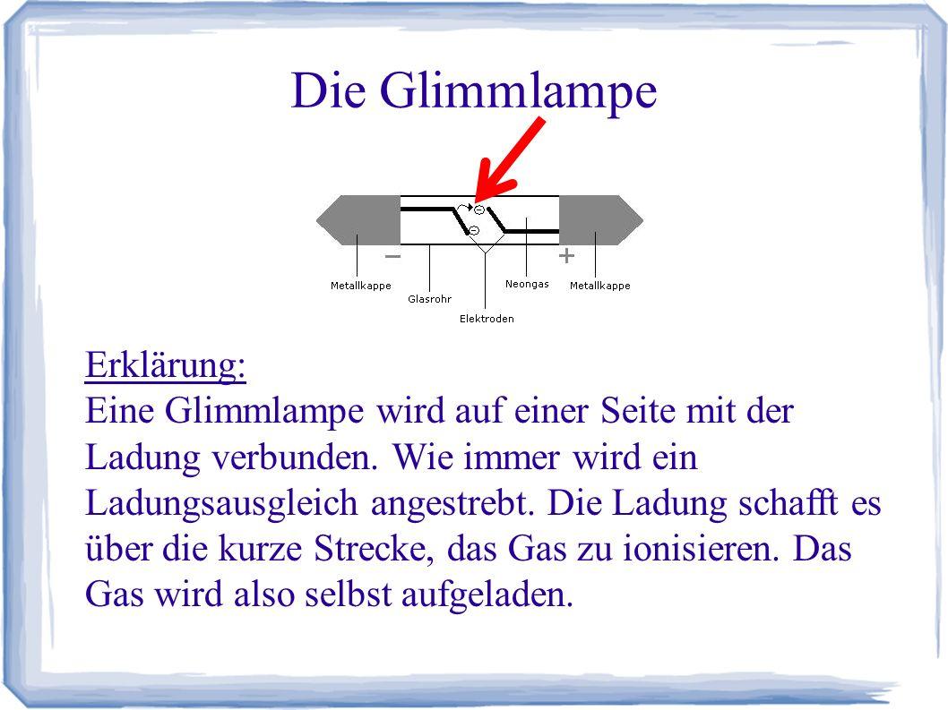 Die Glimmlampe Erklärung (Fortsetzung): Die Aufladung des Gases sorgt dafür, dass von den Gasatomen Licht abgegeben wird.