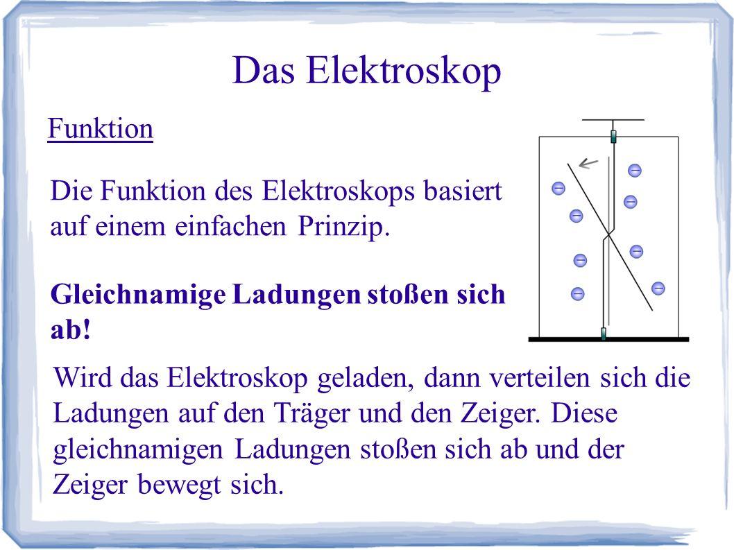 Das Elektroskop Funktion Mit einem Elektroskop lässt sich nicht unter- scheiden, ob es sich um positive oder negative Ladungen handelt.