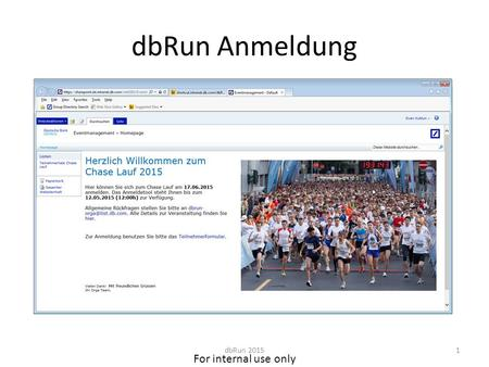 For internal use only dbRun Anmeldung dbRun 20151.
