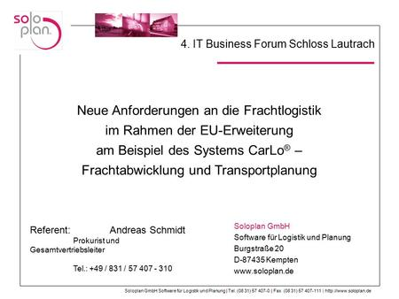 4. IT Business Forum Schloss Lautrach
