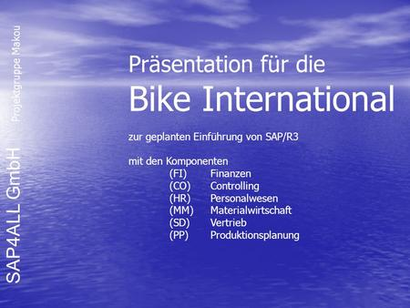 Bike International Präsentation für die