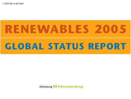 Abkürzung: RE = Renewable Energy 1.1524 RE in der Welt.