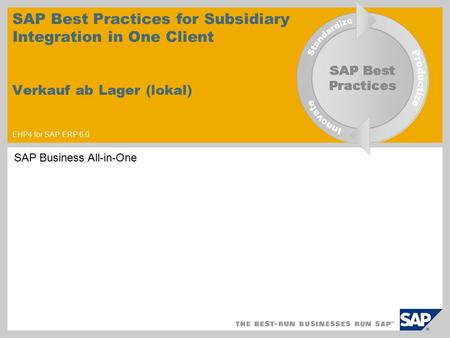 SAP Best Practices for Subsidiary Integration in One Client Verkauf ab Lager (lokal) EHP4 for SAP ERP 6.0 SAP Business All-in-One.