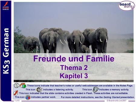 © Boardworks Ltd 20071 of 8 Freunde und Familie Thema 2 Kapitel 3 This icon indicates that the slide contains activities created in Flash. These activities.