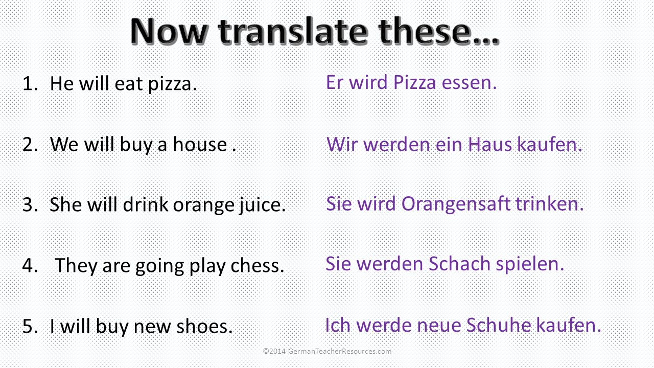 You can add a time phrase to your sentences, for example: Nächste Woche= next week Am Samstag= on Saturday Nächstes Jahr= next year If you use a time phrase at the beginning of your sentence, you must always put the verb next (switch the next two words around): meine Oma besuchen.