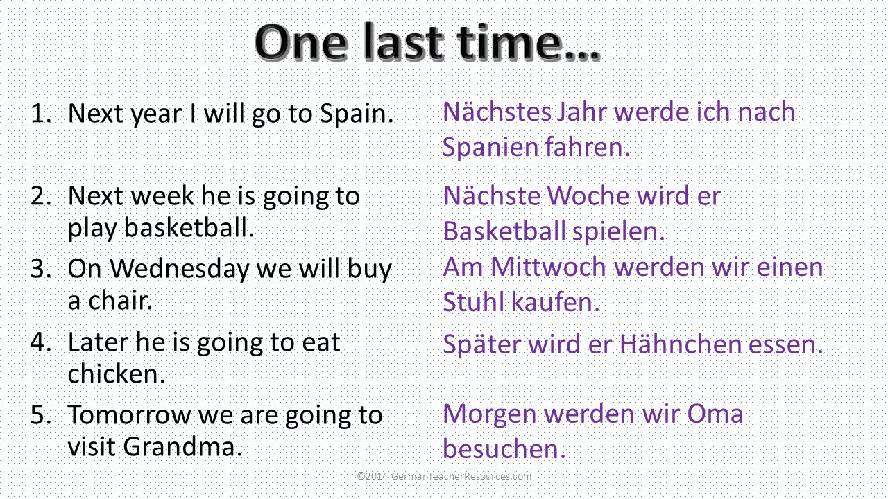 You may need a few more time phrases to help you: dann = then danach= after that um neun Uhr= at nine oclock am Morgen = in the morning am Nachmittag= in the afternoon am Abend= in the evening ©2014 GermanTeacherResources.com You could also try adding opinions.