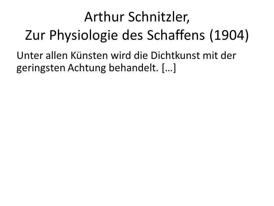Arthur Schnitzler, Zur Physiologie des Schaffens (1904) Unter allen Künsten wird die Dichtkunst mit der geringsten Achtung behandelt.
