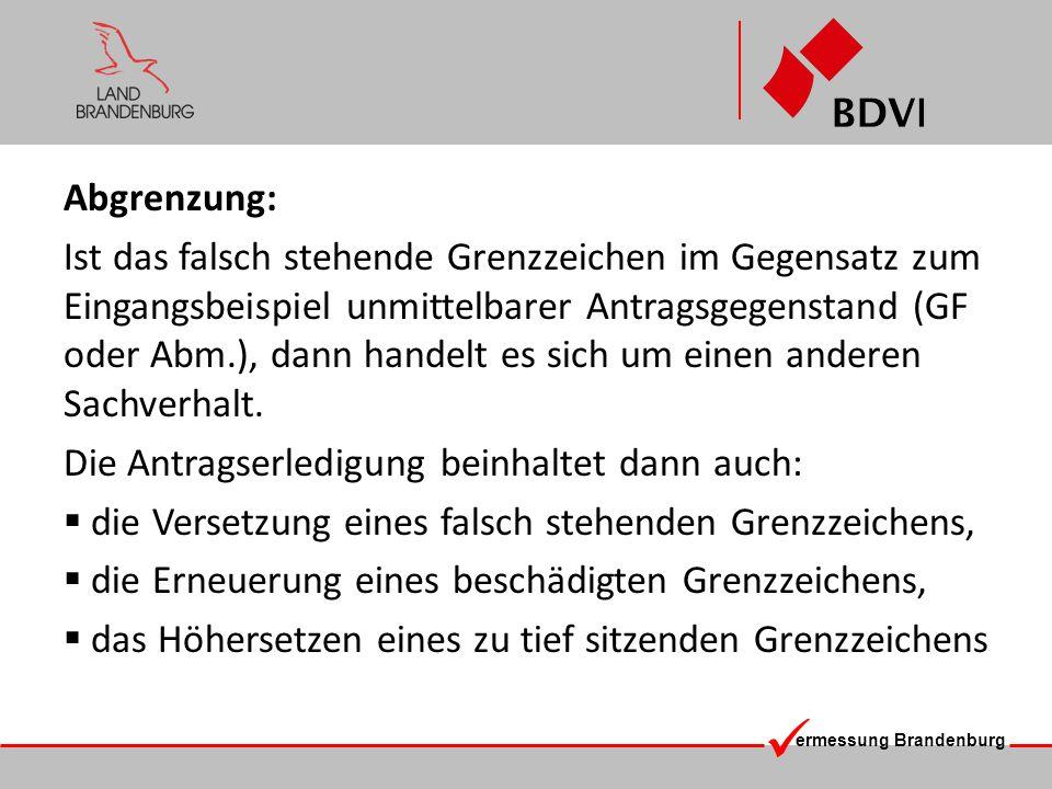 ermessung Brandenburg Indirekte Abmarkung
