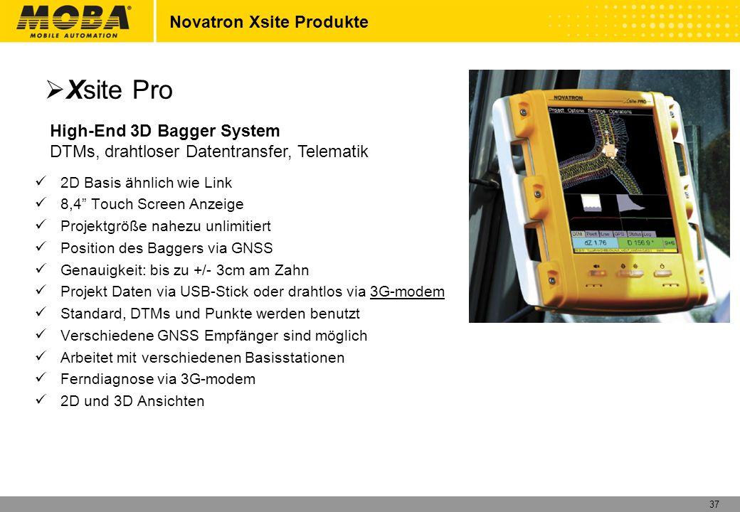 38 Novatron Xsite Produkte High-End 3D Bagger System DTMs, drahtloser Datentransfer, Telematik Dual GNSS Positionierung Drahtlose Datenübertragung DTMs und Achsen Ferndiagnose Xsite Pro