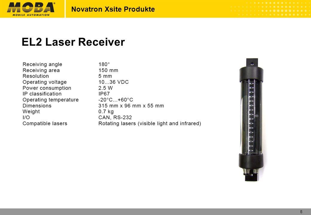 9 Novatron Xsite Produkte XD2 LED Display Basic settings: Yellow:Distance to target 6cm – 15cm Blue:Distance to target 3cm – 6cm Green: On target +/- 3cm Red: Below target 3cm – 6cm (Settings could be changed)