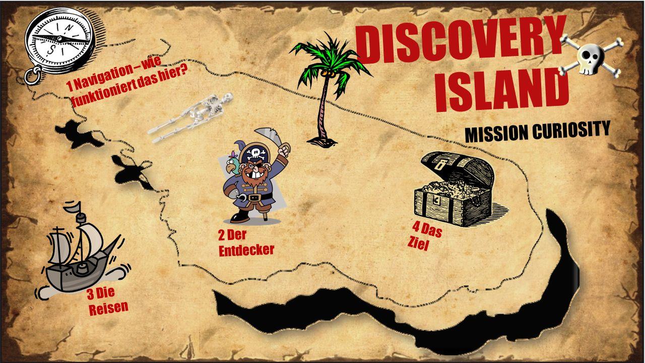 DISCOVERY ISLAND MISSION CURIOSITY 4 Das Ziel 2 Der Entdecker 3 Die Reisen 1 Navigation – wie funktioniert das hier?