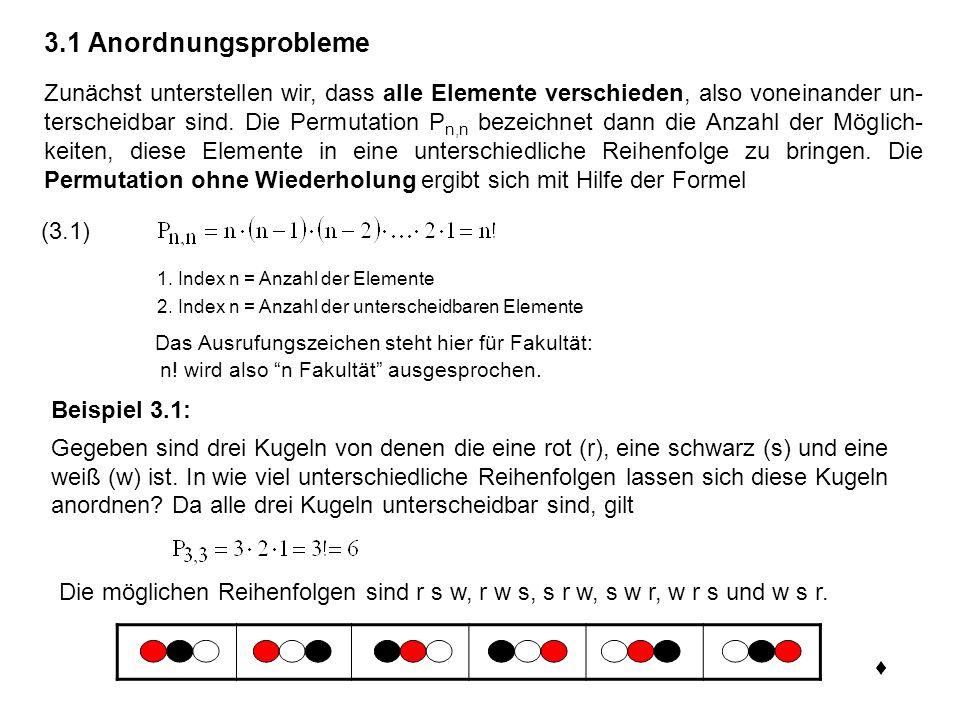Formel (3.1) zur Berechnung von Permutationen ohne Wiederholung lässt sich leicht plausibel machen.