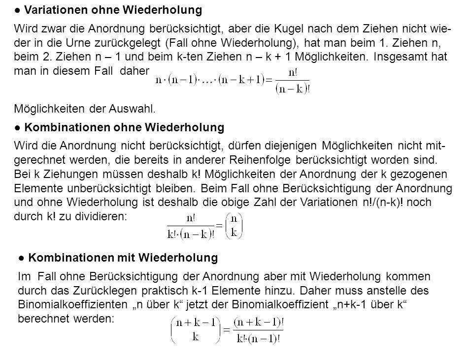 Beispiel 3.3: Wie viele Möglichkeiten ergeben sich beim zweimaligen Ziehen (k = 2) aus einer Menge von drei Kugeln (n = 3), von denen eine rot r, eine schwarz s und eine weiß w ist?