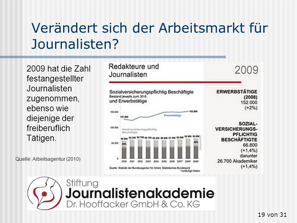 20 von 31 Mehr Online-Journalisten Wieviele Online- Journalisten arbeiten in Deutschland.