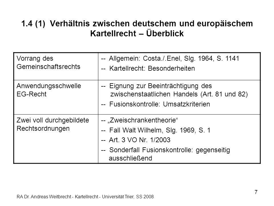 8 1.4 (2) Verhältnis zwischen deutschem und europäischem Kartellrecht – Einzelheiten Art.