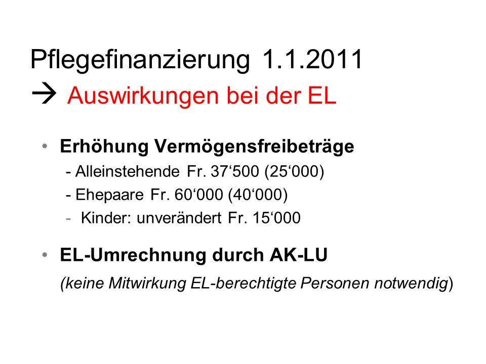 Pflegefinanzierung 1.1.2011 Auswirkungen bei der EL Freibetrag selbstbewohnte Liegenschaft wird auf Fr.