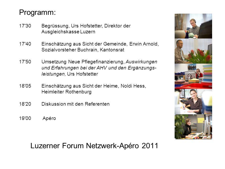 Gesetz über die Finanzierung der Pflegeleistungen der Krankenversicherung (Pflegefinanzierungsgesetz) Netzwerk-Apéro der Ausgleichskasse Luzern 30.