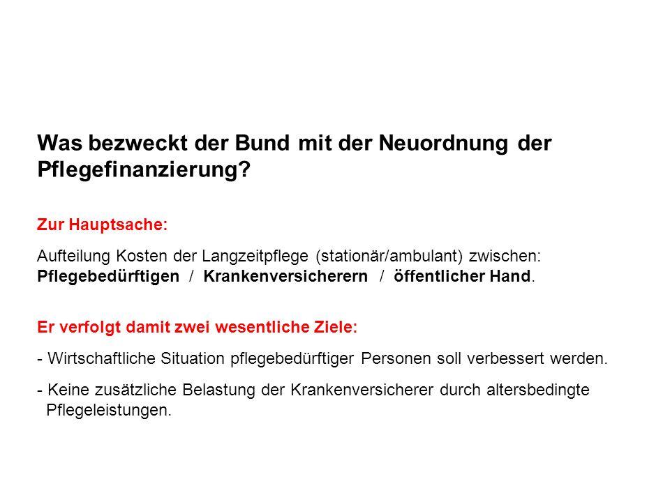 KVG Langzeitpflege: Vorgaben Bund Der Bund regelt neu, wer die Kosten der Langzeitpflege zu tragen hat (bisher war nur KVG-Beitrag klar geregelt).