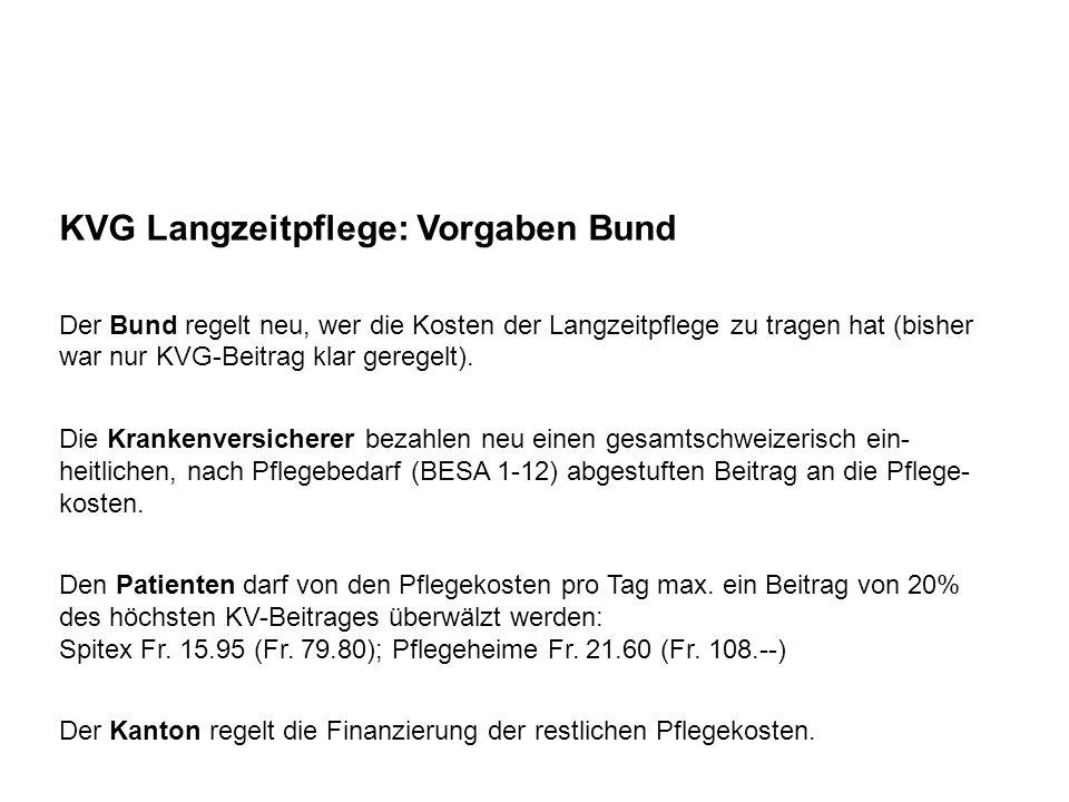 KVG Langzeitpflege: Vorgaben Bund Es geht lediglich um die Pflegeleistungen (nicht um Pension, Betreuung, hauswirtschaftliche Leistungen).