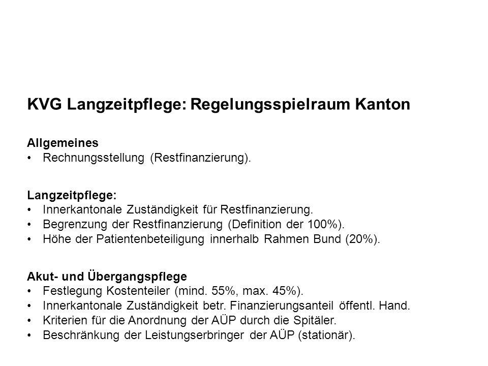 KVG Langzeitpflege: Restfinanzierung Gemeinde Beispiel Pflegeheim: Aufenthalt/Betreuung: Fr.