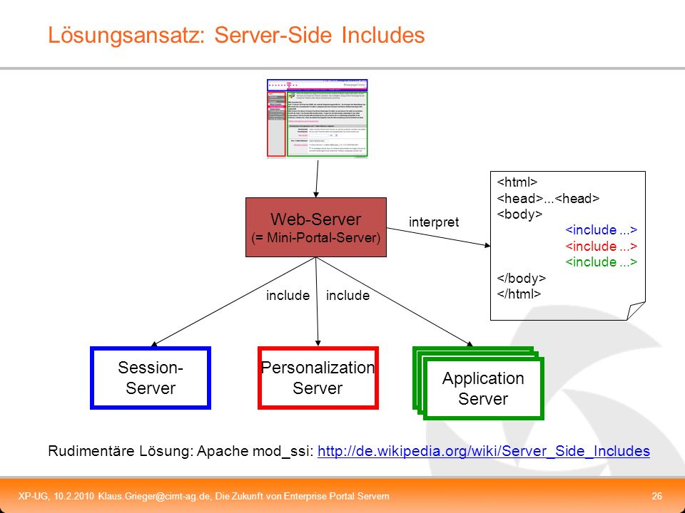 XP-UG, 10.2.2010 Klaus.Grieger@cimt-ag.de, Die Zukunft von Enterprise Portal Servern27 Lösungsansatz Server Side Includes Weitere Anforderungen (= Herausforderungen) Rekursives Auflösen von inlucudes Einfügen von HTML-Output an verschiedenen Stellen am Seitenanfang / -ende im header Layout-Management Request-Handling (GET/Post/Ajax-Calls an einzelne Portlets) Management von JS-Bibliotheken und Namespaces Caching Client2Client-Kommunikation (Java-Script) Session-/Cookie-Management Authentifizierung und Authentifizierungsinformationen