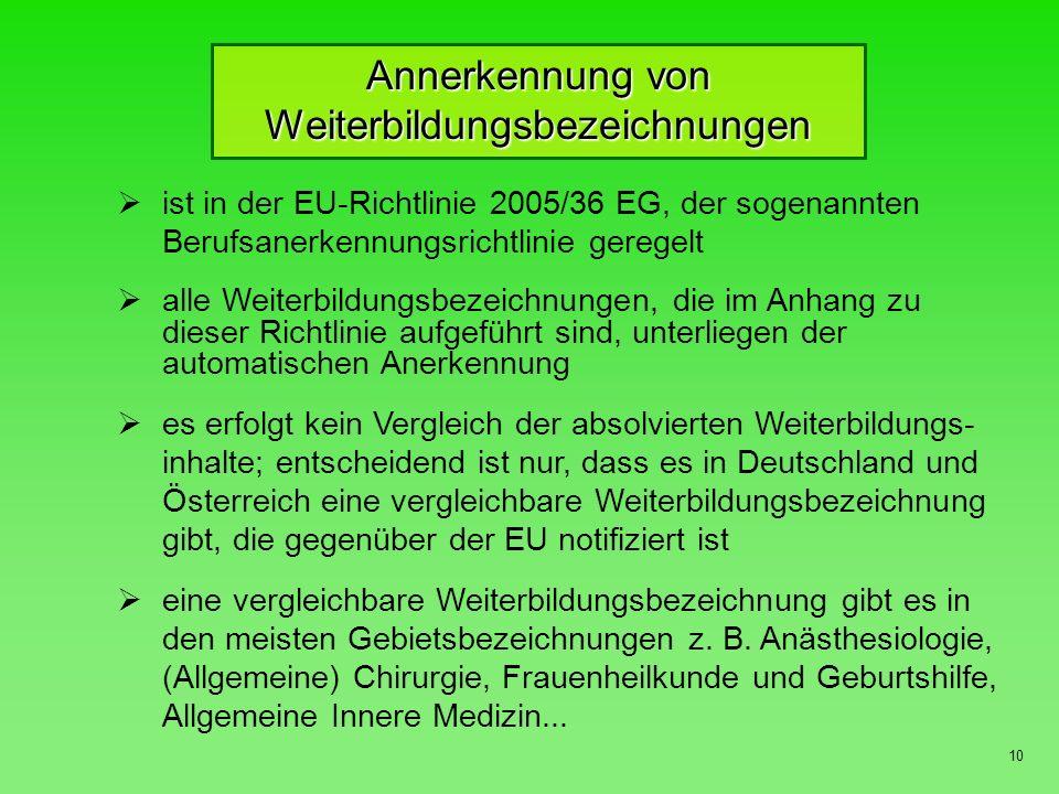 Voraussetzungen für die Zulassung als Vertragsarzt im ambulanten Bereich 11 I.Persönliche Voraussetzungen 1.Approbation als Arzt 2.Facharztqualifikation a)besondere Ausbildung in der Allgemeinmedizin gemäß EU-Richtlinie 2005/36/EG (36-monatige Turnuszeit) oder 60-monatige Weiterbildung zum deutschen Facharzt für Allgemeinmedizin b)Facharztqualifikation in einem der übrigen Fachgebiete ( 60- bzw.