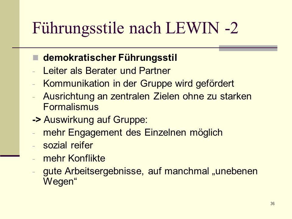 37 Führungsstile nach LEWIN -3 Laissez-faire Führungsstil - Leiter greift kaum ins Geschehen ein, kaum Kontrolle - Prozesse sollen sich selbst regeln - starke Betonung der Kreativität -> Auswirkung auf Gruppe: - Gruppe kann sozial verwahrlosen, evtl.