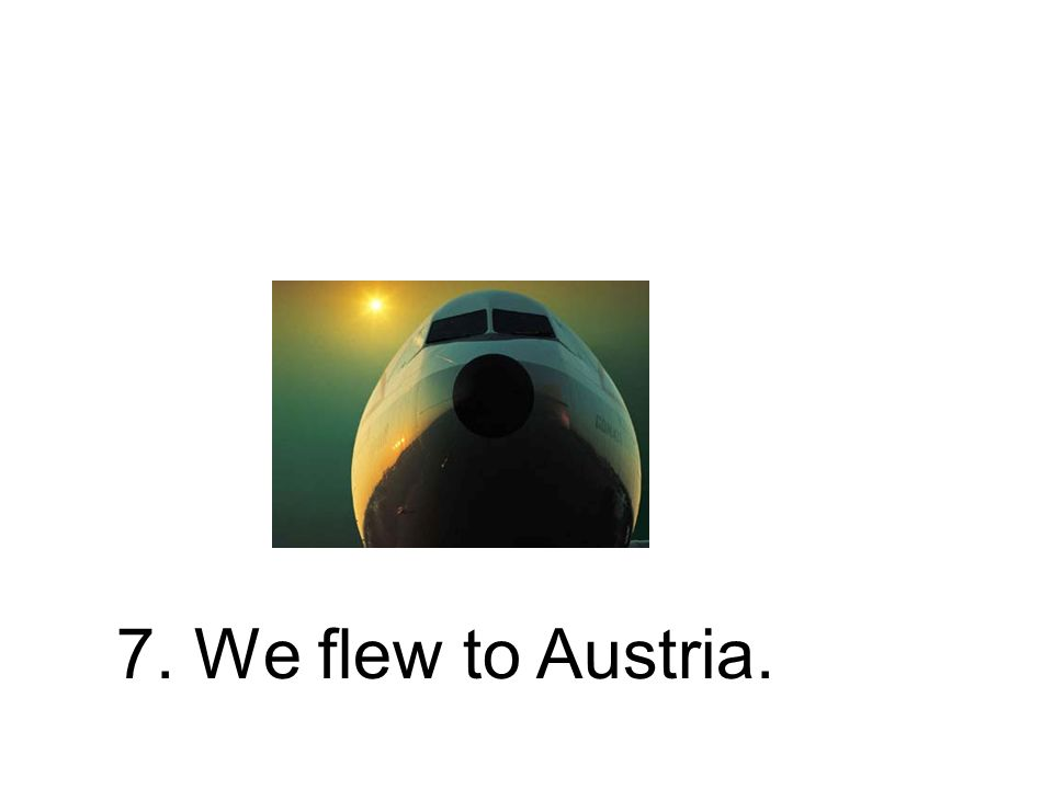 7. Wir flogen nach Österreich. Wir sind nach Österreich geflogen.