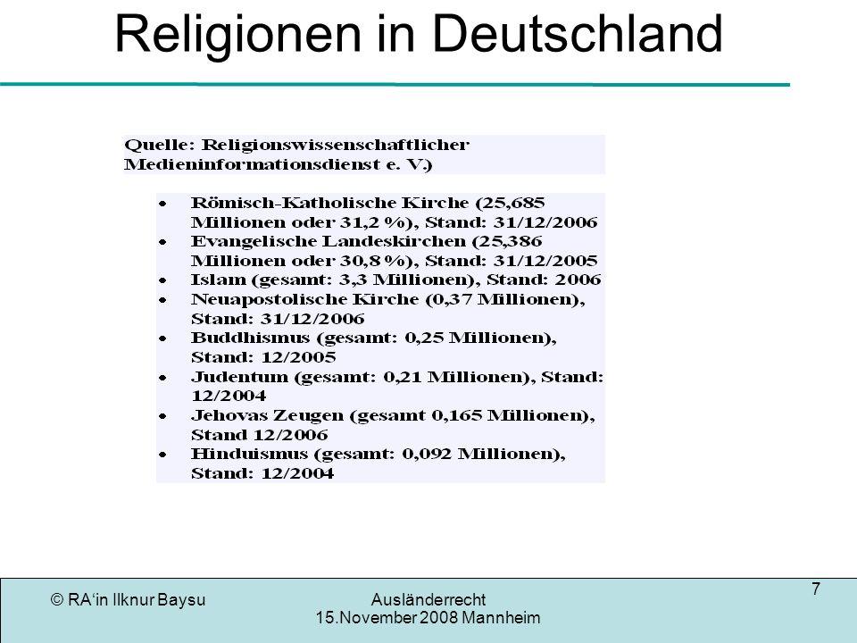 © RAin Ilknur BaysuAusländerrecht 15.November 2008 Mannheim 8 Rechtsquellen des Aufenthaltsrecht Drittstaatsan- dehörige im EU- Recht ARB 1/80EU-Mitglieder Europ- Menschen- Rechts konvention AufenthaltG Ausländer- recht EuGH Luxemburg BVerfG Karlsruhe BVerwG Leipzig EGMR Straßburg