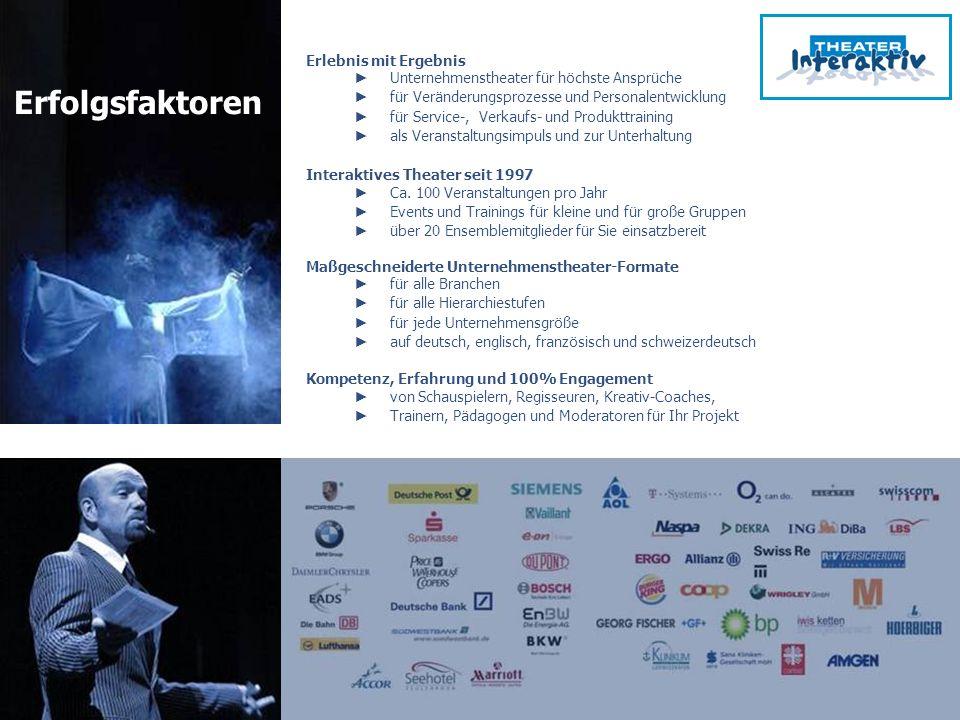www.theater-interaktiv.de Das Unternehmenstheater für Personalentwicklung, Business-Entertainment und Change-Events info@theater-interaktiv.de www.theater-interaktiv.net