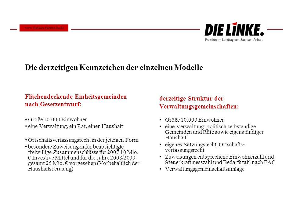 Grundsätze der Neugliederung Im Land Sachsen-Anhalt sollen vorrangig Einheitsgemeinden geschaffen werden.