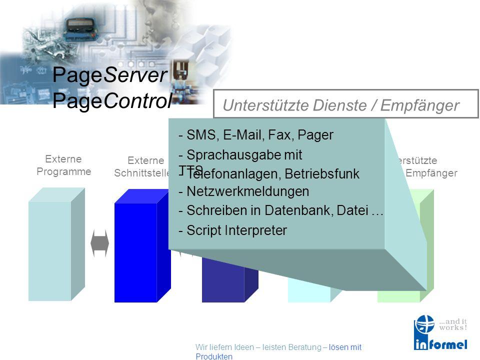 Wir liefern Ideen – leisten Beratung – lösen mit Produkten PageServer PageControl Unterstützte Dienste / Empfänger Externe Programme Externe Schnittstellen PageControl Alarmserver Kommunikations- Schnittstellen Unterstützte Dienste / Empfänger - Sprachausgabe mit TTS - SMS, E-Mail, Fax, Pager - Script Interpreter - Schreiben in Datenbank, Datei … - Netzwerkmeldungen - Telefonanlagen, Betriebsfunk