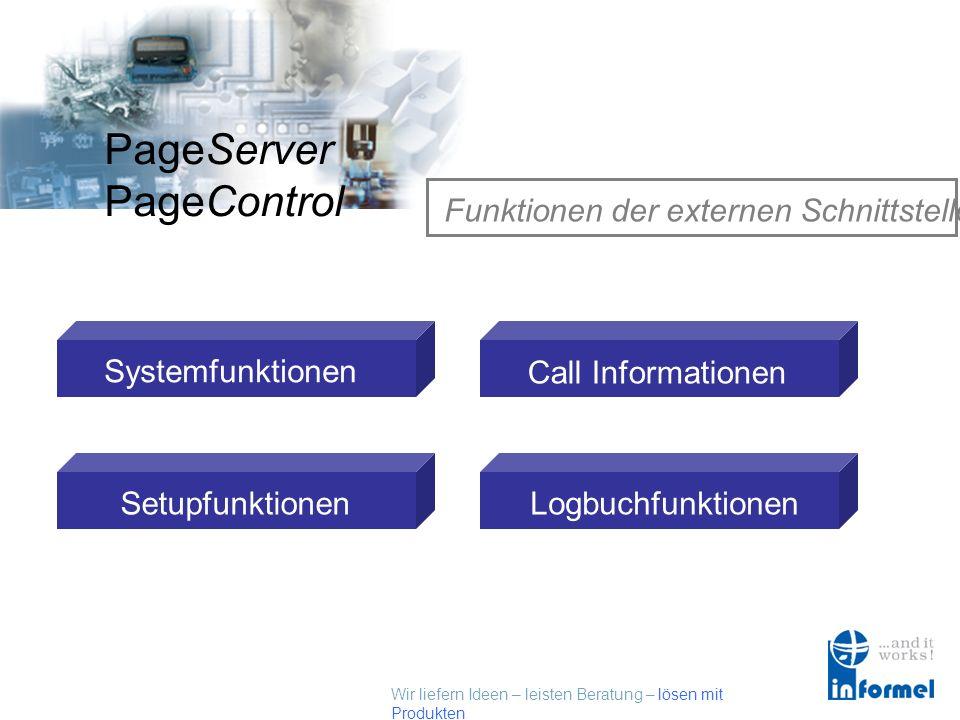 Wir liefern Ideen – leisten Beratung – lösen mit Produkten PageServer PageControl Funktionen der externen Schnittstelle Systemfunktionen Setupfunktionen Call Informationen Logbuchfunktionen