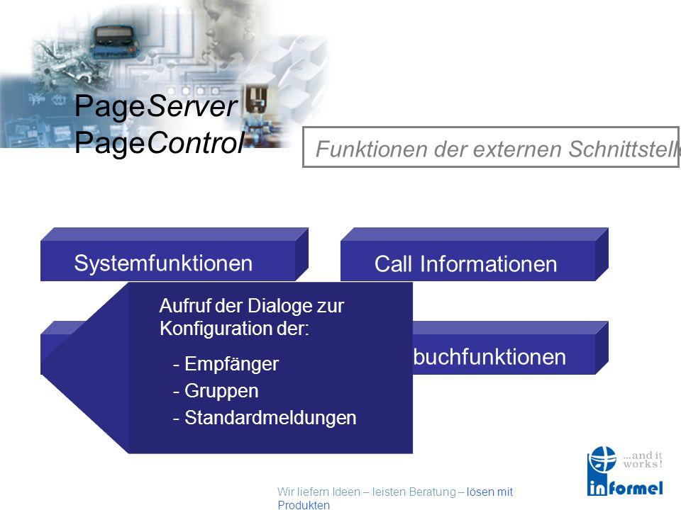 Wir liefern Ideen – leisten Beratung – lösen mit Produkten PageServer PageControl Funktionen der externen Schnittstelle Systemfunktionen Setupfunktionen Call Informationen Logbuchfunktionen Aufruf der Dialoge zur Konfiguration der: - Empfänger - Gruppen - Standardmeldungen