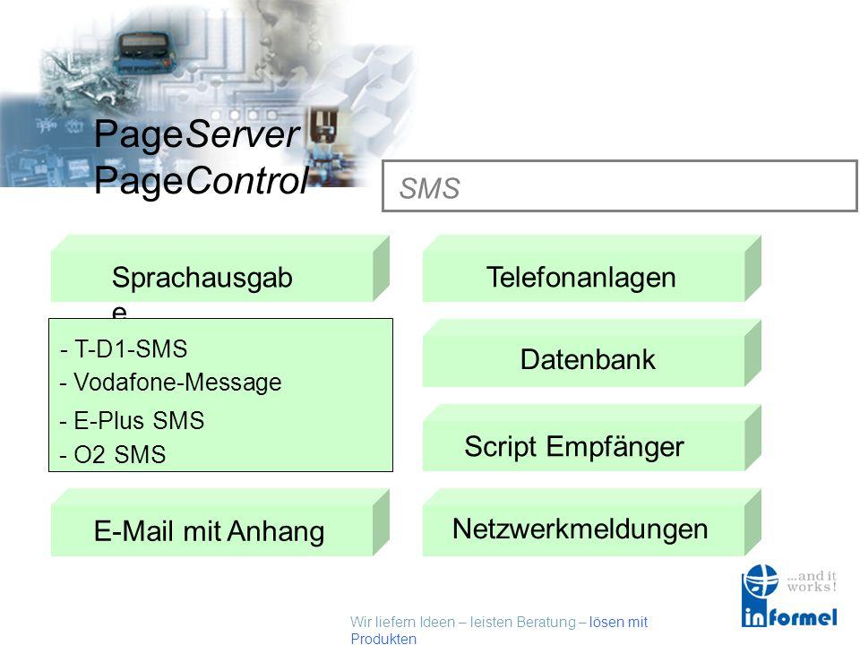 Wir liefern Ideen – leisten Beratung – lösen mit Produkten PageServer PageControl SMS Sprachausgab e SMSTelefonanlagen Datenbank Fax E-Mail mit AnhangScript Empfänger Netzwerkmeldungen - T-D1-SMS - Vodafone-Message - E-Plus SMS - O2 SMS