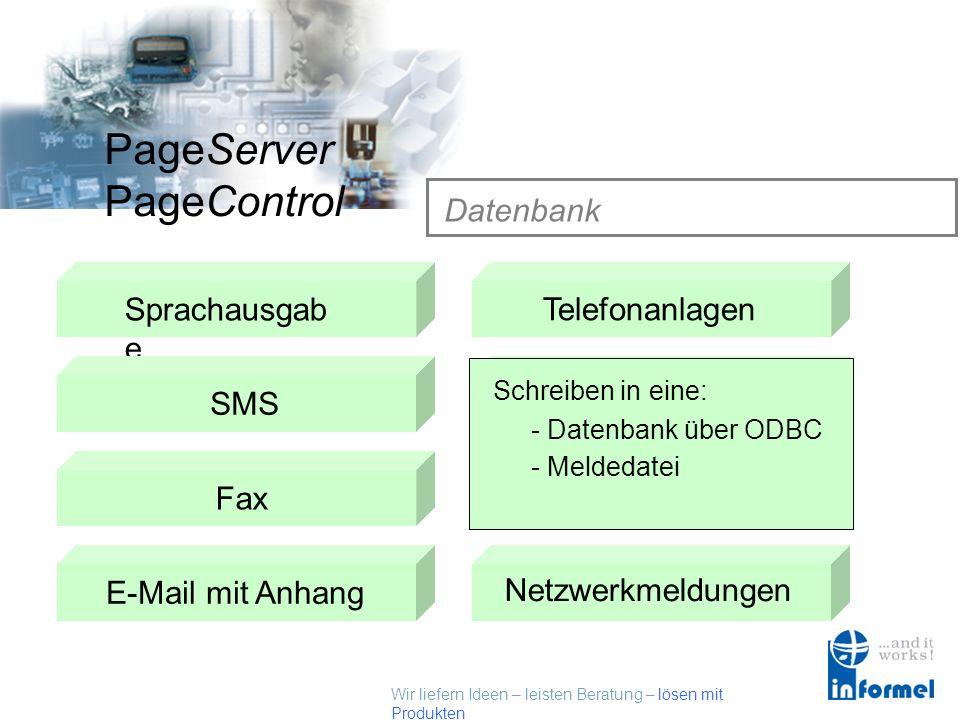 Wir liefern Ideen – leisten Beratung – lösen mit Produkten PageServer PageControl Datenbank Sprachausgab e SMSTelefonanlagen Datenbank Fax E-Mail mit AnhangScript Empfänger Netzwerkmeldungen Schreiben in eine: - Datenbank über ODBC - Meldedatei