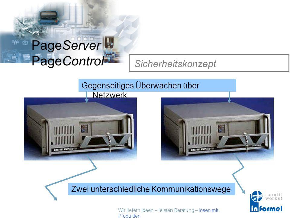 Wir liefern Ideen – leisten Beratung – lösen mit Produkten PageServer PageControl Sicherheitskonzept Gegenseitiges Überwachen über Netzwerk Zwei unterschiedliche Kommunikationswege