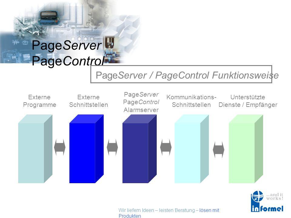 Wir liefern Ideen – leisten Beratung – lösen mit Produkten PageServer PageControl PageServer / PageControl Funktionsweise Externe Programme Externe Schnittstellen PageServer PageControl Alarmserver Kommunikations- Schnittstellen Unterstützte Dienste / Empfänger