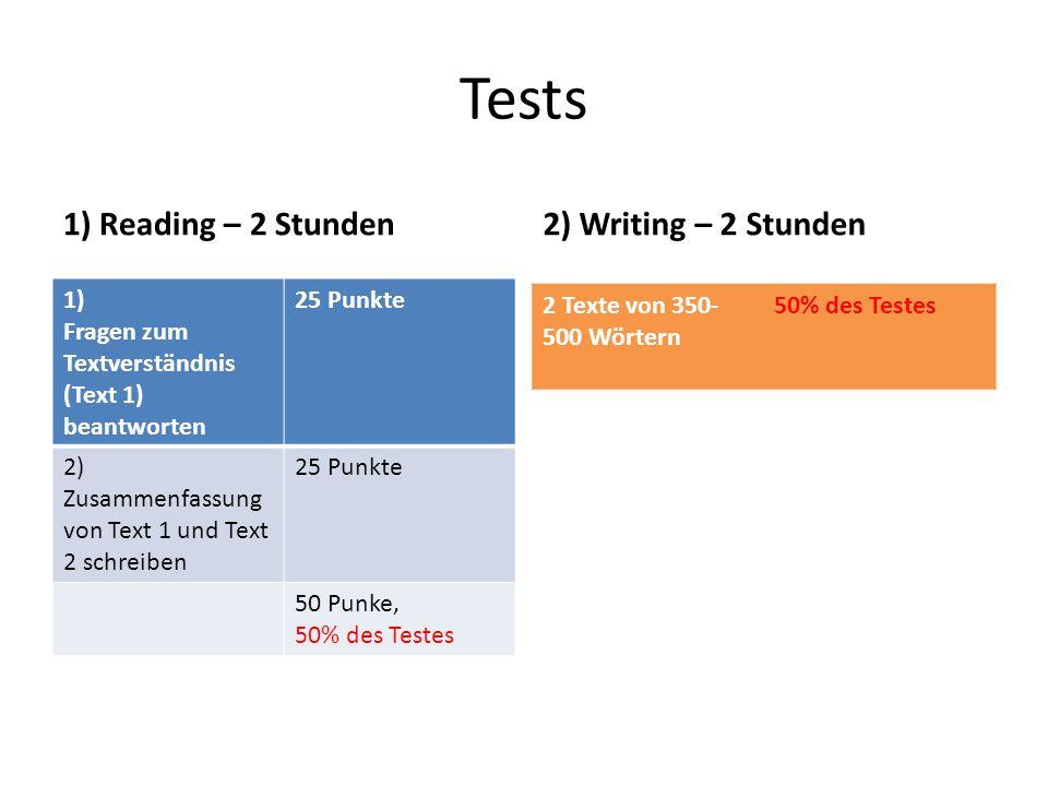 Leseverständnis Was wird getestet.1)Kannst du (auch komplexere Texte) verstehen und erklären.
