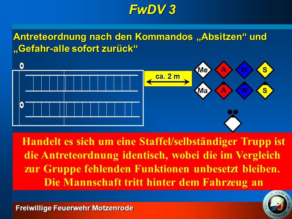 Freiwillige Feuerwehr Motzenrode GrundlehrgangGesamtlernziel: Sinn und Zweck der Dienstvorschriften 3 wiedergeben und Löscheinsätze gemäß dieser Vorschriften durchführen können wiedergeben und Löscheinsätze gemäß dieser Vorschriften durchführen können Gliederung des selbstständigen Trupps Einsatzmittel der Einheiten: FwDV 3