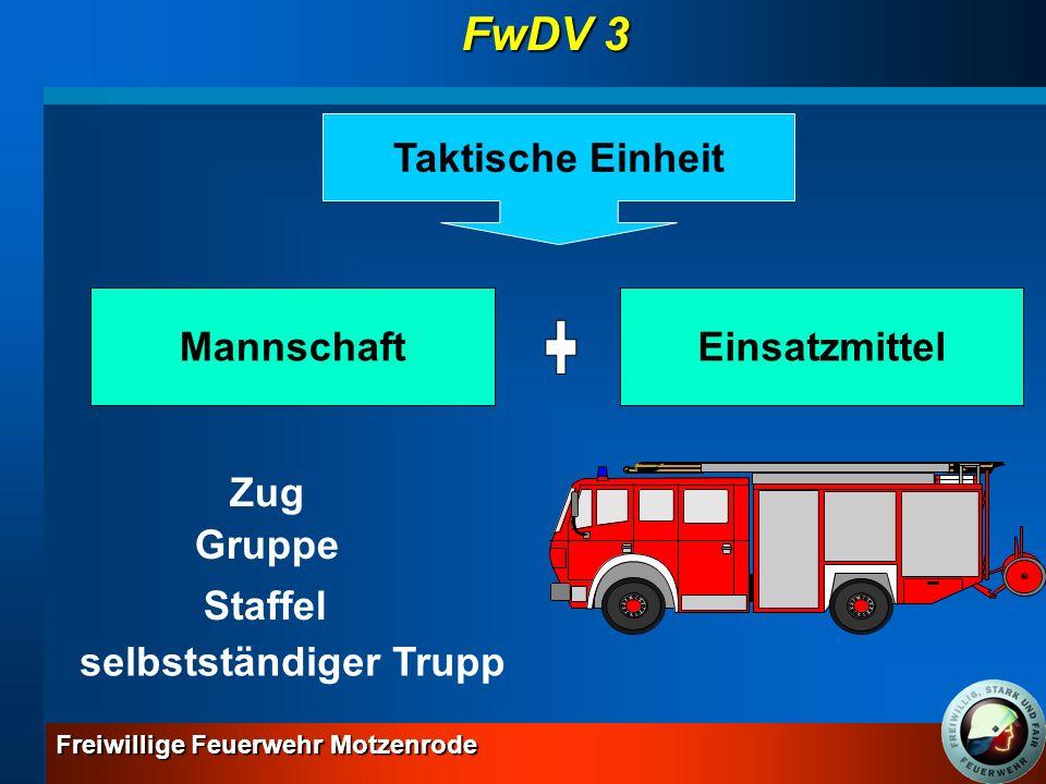 Freiwillige Feuerwehr Motzenrode GrundlehrgangGesamtlernziel: Sinn und Zweck der Dienstvorschriften 3 wiedergeben und Löscheinsätze gemäß dieser Vorschriften durchführen können wiedergeben und Löscheinsätze gemäß dieser Vorschriften durchführen können Gliederung des selbstständigen Trupps Gliederung der Gruppe (1/8/9) FwDV 3 MaMe A A W W S S