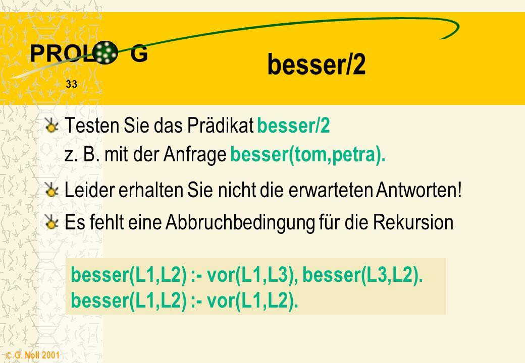 PROL G © G.Noll 2001 33 Testen Sie das Prädikat besser/2 z.