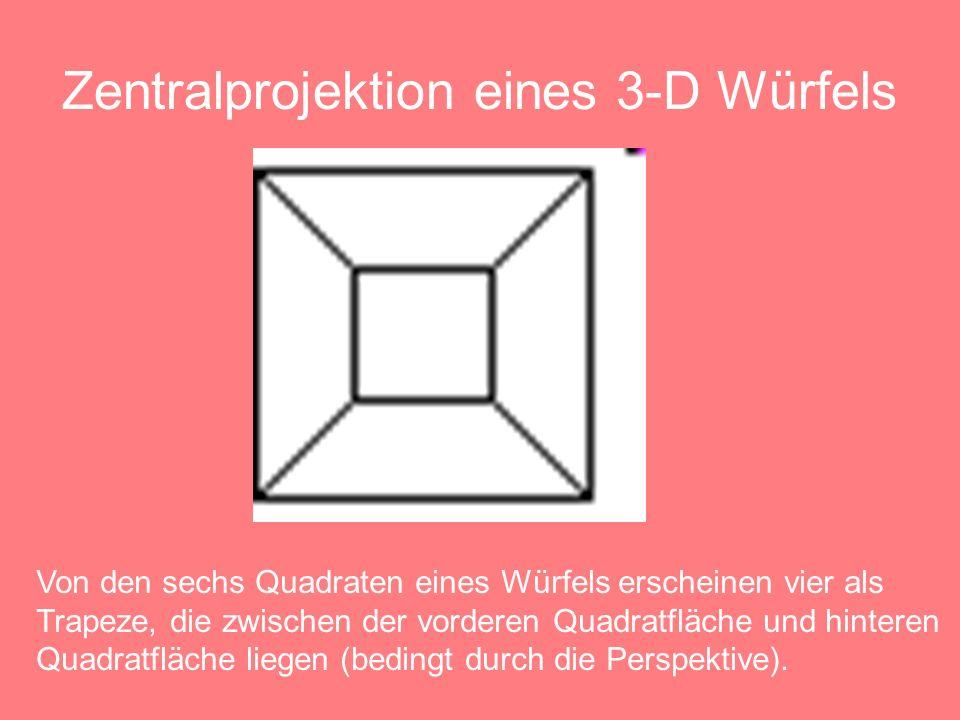 Zentralprojektion eines Hyperwürfels Von den 8 Würfeln erscheinen 6 als Pyramidenstümpfe, die zwischen einem kleinen und einem großen Würfel liegen.