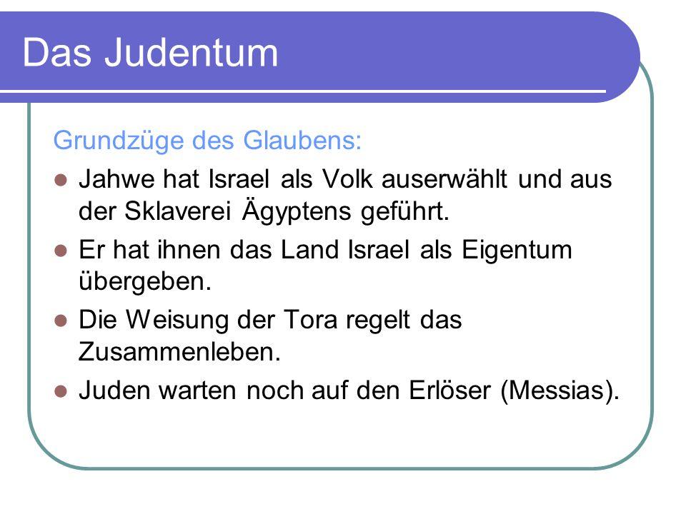 Hl.Schriften Tenach: festgelegt um 100 n. Chr. besteht aus Tora, Propheten, Schriften Talmud: ca.