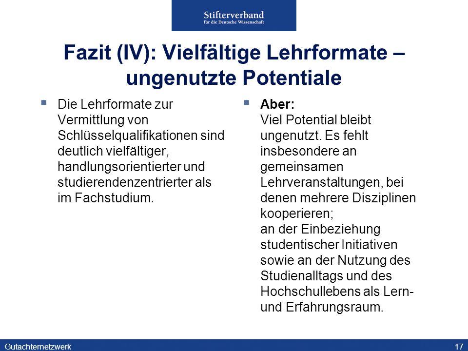 Gutachternetzwerk18 Fazit (V): Entwicklungsaufgabe Prüfungen Hinsichtlich geeigneter Prüfungsformate herrscht verbreitet Rat- und Ideenlosigkeit.