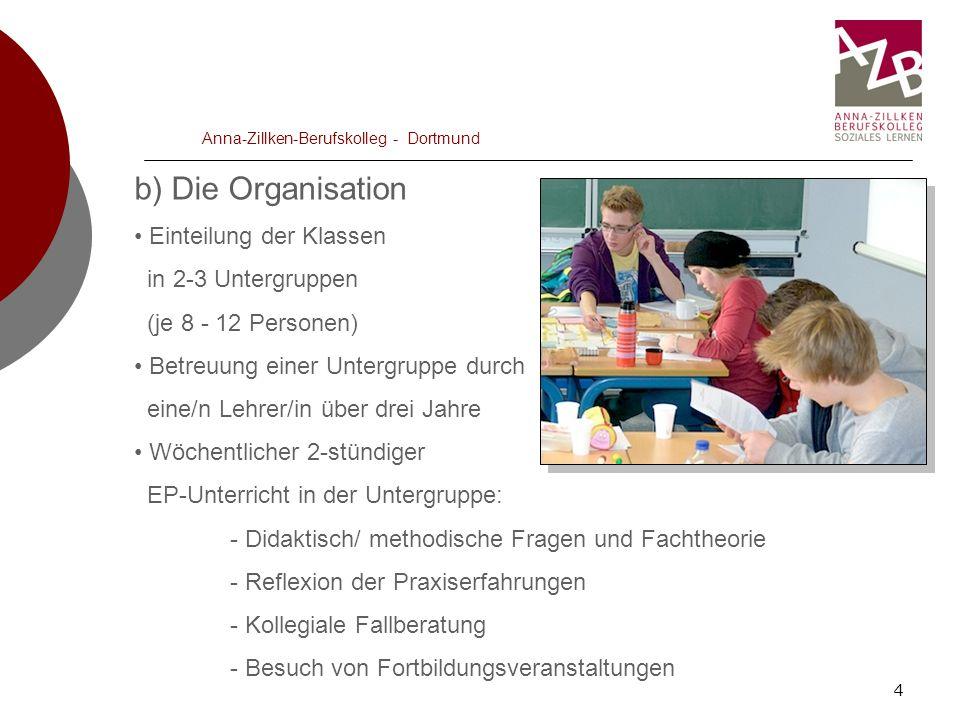 5 Anna-Zillken-Berufskolleg - Dortmund c) Die Praxisbetreuung Angekündigte Praxisbesuche in den Einrichtungen Anwesenheit der Praxisanleiter/in ist Pflicht Inhaltliche Vorbereitung des Besuches durch die Auszubildenden, ggf.